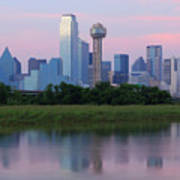 Trinity River With Skyline, Dallas Poster by Michael Fitzgerald Fine Art Photography of Texas