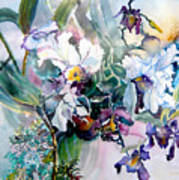 Tropical White Orchids Poster by Mindy Newman