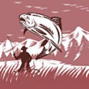 Trout Jumping Fisherman Poster by Aloysius Patrimonio