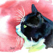 Tuxedo Cat Profile Poster by Christy  Freeman