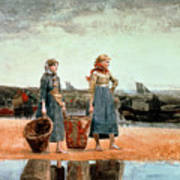 Two Girls On The Beach Poster by Winslow Homer