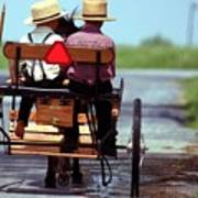 Two Little Amish Boys In A Buggy Poster by Randy Matthews