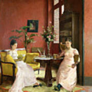 Two Women Reading In An Interior  Poster by Jean Georges Ferry