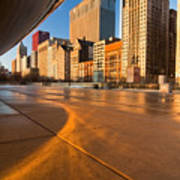 Under The Bean And Chicago Skyline At Sunrise Poster by Sven Brogren