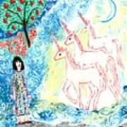 Unicorns Come Home Poster by Sushila Burgess