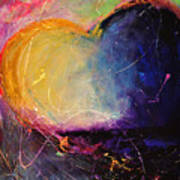 Unrestricted Heart Sunset Colors Poster by Johane Amirault