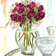Valentines Crystal Rose Poster by Clara Sue Beym