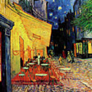 Van Gogh Cafe Terrace Place Du Forum At Night Poster by Vincent Van Gogh
