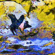 Van Gogh.s Flying Pig 3 Poster by Wingsdomain Art and Photography