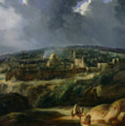 View Of Jerusalem From The Valley Of Jehoshaphat Poster by Auguste Forbin