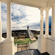 View Of The Marshall Point Lighthouse From The Keeper's House Poster by George Oze