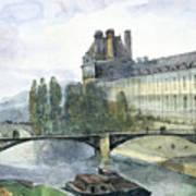 View Of The Pavillon De Flore Of The Louvre Poster by Francois-Marius Granet