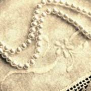 Vintage Lace And Pearls Poster by Barbara Griffin