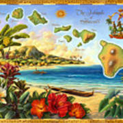 Vintage Map Of Hawaii Poster by Anne Wertheim