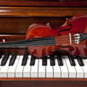 Violin On Piano Poster by Garry Gay