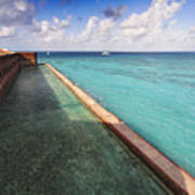 Walls And Moat Of  Fort Jefferson Poster by George Oze