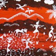 Warli Village Scene Poster by Sowjanya Sreeram