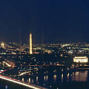 Washington D.c. At Night, Seen Poster by Kenneth Garrett
