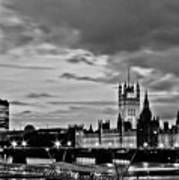 Westminster Black And White Poster by Dawn OConnor