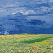 Wheatfields Under Thunderclouds Poster by Vincent Van Gogh