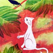 White Cat Black Bird Poster by Susan Greenwood Lindsay