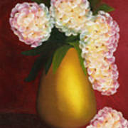 White Hydrangeas In A Golden Vase Poster by Maria Williams