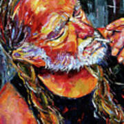 Willie Nelson Booger Red Poster by Debra Hurd