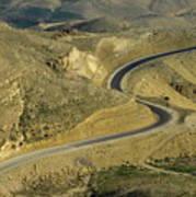 Winding  King Road In Wadi Mujib Valley Poster by Sami Sarkis
