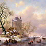 Winter Landscape With Castle Poster by Frederick Marianus Kruseman