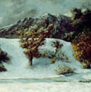 Winter Landscape With The Dents Du Midi Poster by Gustave Courbet