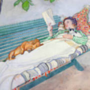 Woman Lying On A Bench Poster by Carl Larsson