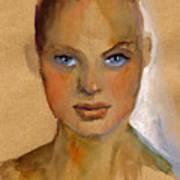 Woman Portrait Sketch Poster by Svetlana Novikova