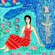 Woman Reading Beside Fountain Poster by Sushila Burgess