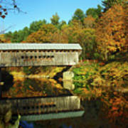 Worrall's Bridge Vermont - New England Fall Landscape Covered Bridge Poster by Jon Holiday