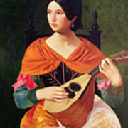 Young Woman With A Mandolin Poster by Vekoslav Karas