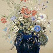A Vase Of Blue Flowers Print by Odilon Redon