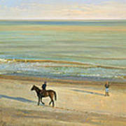 Beach Dialogue Dunwich Print by Timothy  Easton