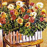 Chair Of Flowers Print by David Lloyd Glover
