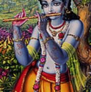 Krishna With Flute  Print by Vrindavan Das