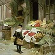 Little Boy At The Market Print by Victor Gabriel Gilbert