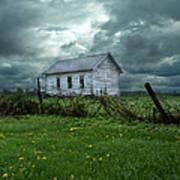 Abandoned Building In A Storm Print by Jill Battaglia