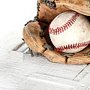 Baseball And Mitt Print by Jennifer Huls