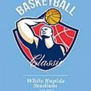 Basketball Player Rebounding Ball Retro Print by Aloysius Patrimonio