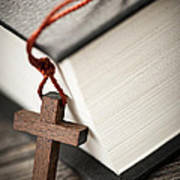 Cross And Bible Print by Elena Elisseeva