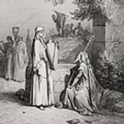 Eliezer And Rebekah Print by Gustave Dore