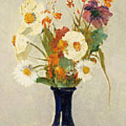 Flowers In A Vase Print by Odilon Redon