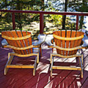 Forest Cottage Deck And Chairs Print by Elena Elisseeva