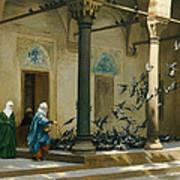 Harem Women Feeding Pigeons In A Courtyard Print by Jean Leon Gerome
