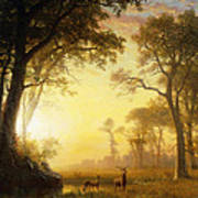 Light In The Forest Print by Albert Bierstadt