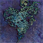Mechanical - Heart Print by Fran Riley
